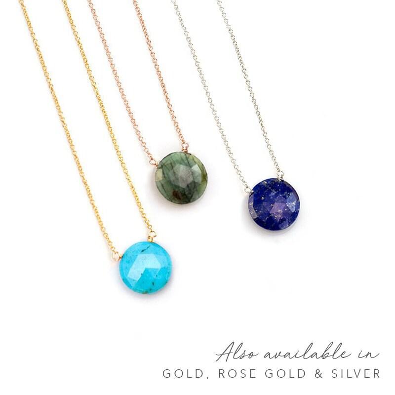 Natural Gemstone Necklace Everyday Necklace Round Emerald Pendant Necklace Black Silver Boho Round Stone Choker May Birthstone Necklace