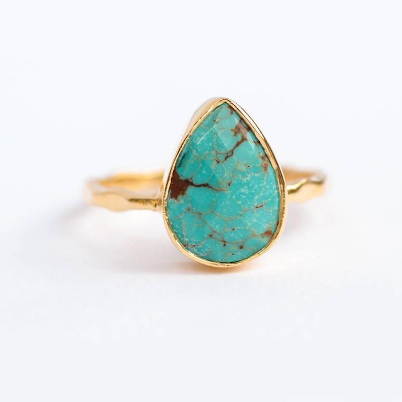Turquoise Ring Gold December Birthstone Ring Gem Ring image 0