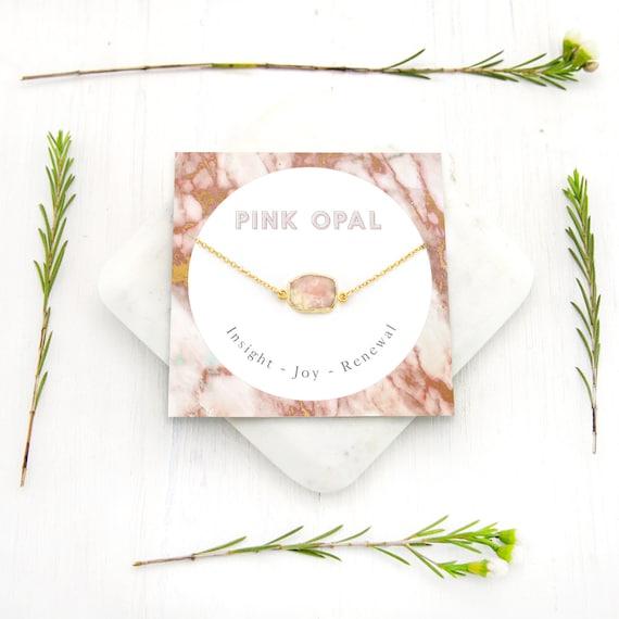 October Birthstone Gift Boho Layering Necklace NK-GS Simple Gem Slice Choker Opal Pendant Pink Opal Necklace Joy Healing Necklace