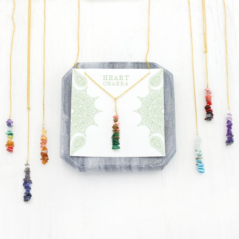 Inspirational Heart Chakra Necklace Pink and Green Gems image 0