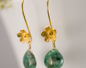 May Birthstone Earrings - Raw Emerald Earrings - Gold Earrings - Flower Earrings