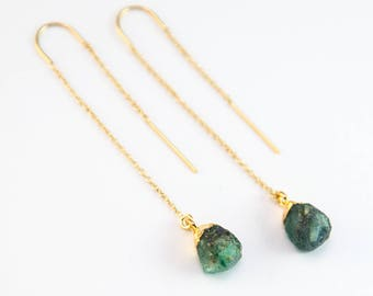 Raw Emerald Gemstone Drop Earrings, Natural Emerald Threader Earrings, May Birthstone Earrings, 14k Gold Filled, Birthday Gift for Her, Boho
