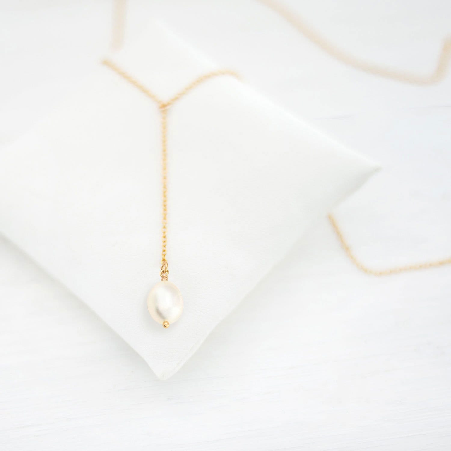 Delicate Jewelry Bridal Rose Gold Necklace Silver Lariat Necklace Dainty Back Necklaces Bridesmaid Gift Moonstone Drop Necklace