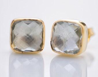 Green Amethyst Stud Earrings - Gemstone Studs - Cushion Cut Studs - Gold Stud Earrings - Post Earrings
