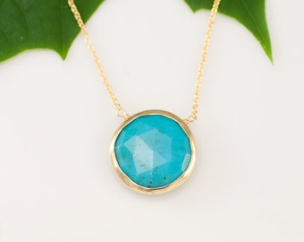 Turquoise Necklace - December Birthstone - Layer Necklace - bezel set necklace - gemstone necklace - Gold necklace