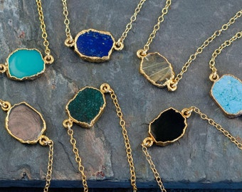 Gemstone Slice Connector Necklace - Gemstone Choker - Layered Necklaces - Electroformed Slice - Gold Necklace - Layering Jewelry