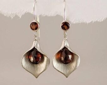 Garnet Earrings - January Birthstone Earrings - Calla Lily Earrings - Silver Earrings - Nature Inspired Jewelry