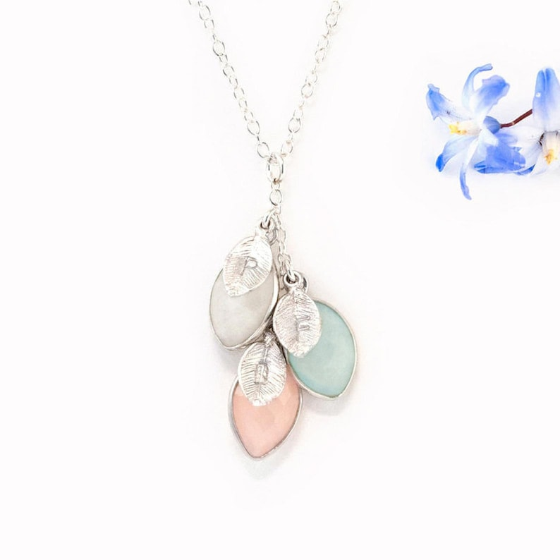 Custom Family Necklace For Mom Nana Gift Sterling Silver image 1