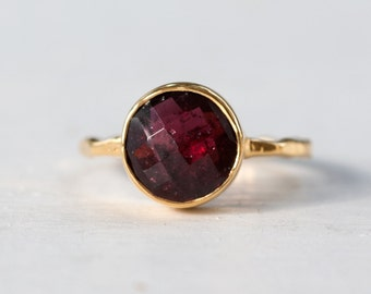 40 0FF - Garnet Ring - January Birthstone Ring - Gemstone Ring - Stacking Ring - Gold Plated - Round Ring