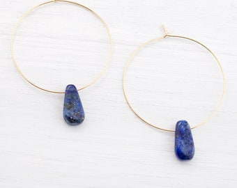 Lightweight Gemstone Hoops, Lapis Lazuli Earrings, September Birthstone, Something Blue, Boho Bride, Gift for Bridesmaid, Statement Earrings
