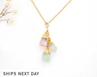 Custom Raw Birthstone Cascade Necklace, Mother of 3, Natural Birthstone Necklace, Family Necklace, Boho Birthstone Necklace, NK-BN