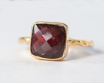 40 0FF - Garnet Ring - January Birthstone Ring - Gemstone Ring - Stacking Ring - Gold Plated - Cushion Cut Ring