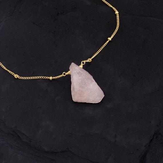 Gemstone Necklace Rose Quartz Charm Layering Necklace Sterling Silver Necklace Charm Necklace Raw Rose Quartz Pendant necklace
