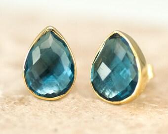Gem Studs - London Blue Topaz Stud Earrings - December Birthstone Studs - Gemstone Studs - Tear Drop Studs - Gold Studs - Post Earrings