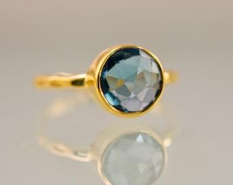 London Blue Topaz Ring Gold - December Birthstone Ring - Solitaire Ring - Stackable Stone Ring - Gold Ring - Round Ring