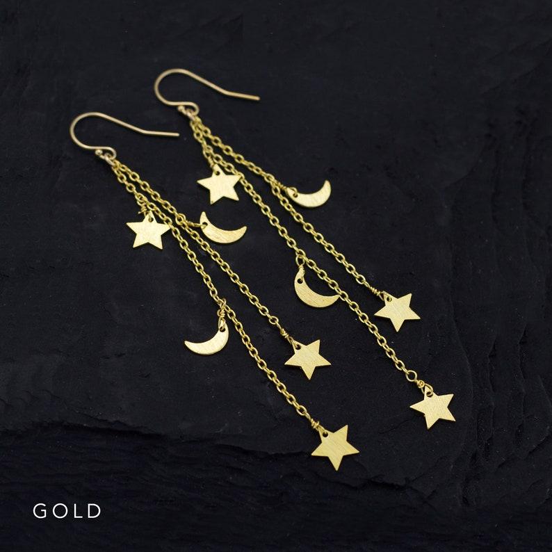 Long Chain Earrings Gold Celestial Earrings Crescent Moon and Stars Festival Boho Jewelry Rose Gold Star Dangle Charm Earrings Silver