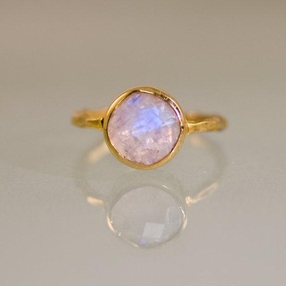 Round Ring Promise Ring Gemstone Band Rainbow Moonstone Ring Bezel Ring Princess Ring June Birthstone