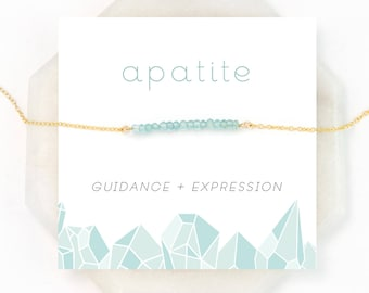 Blue Apatite Necklace, Delicate Bar Choker, Healing Gemstone Gift, Minimalist Jewelry, BFF Necklace, Inspirational Jewelry