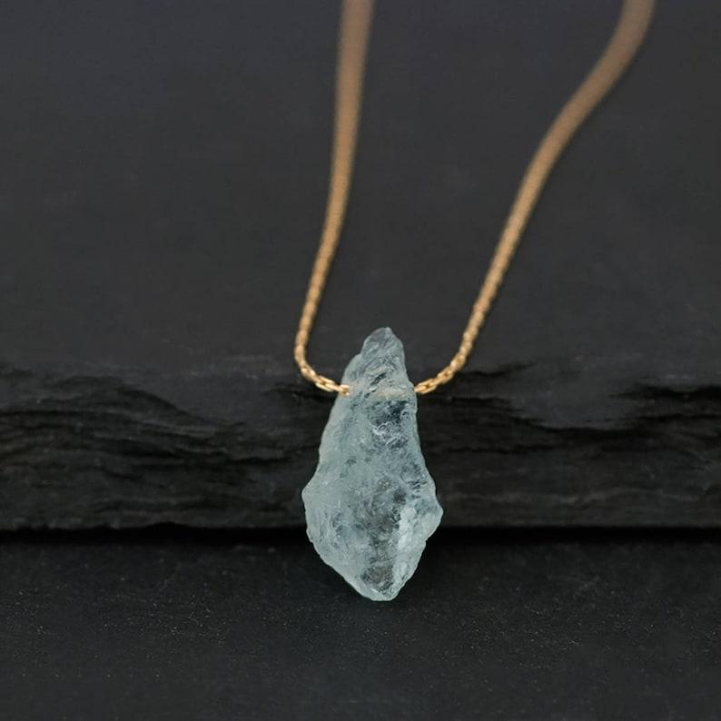 Raw Aquamarine Necklace March Birthstone Necklace Throat image 0