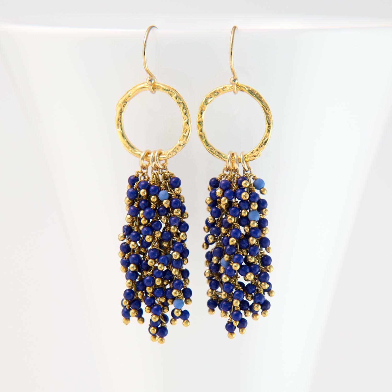 Lapis Gemstone Tassel Earrings Boho Cascade Beaded