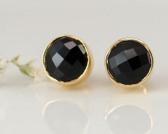 Black Onyx Gemstone Stud Earrings, Gold Framed Stone, Minimalist Earrings, Everyday Jewelry, Gift Ideas for Her, Round Studs, Semi Precious
