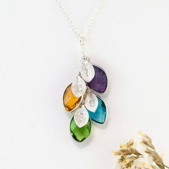 Aspen Leaf Necklace,Personalized initial and birthstone,Stone in Bezel,Bridesmaid gifts,Wedding Jewelry,Bridal Jewelry Gift