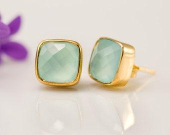 Aqua Blue Chalcedony Stud Earrings - Gemstone Studs - Cushion Cut Studs - Gold Stud Earrings - Post Earrings