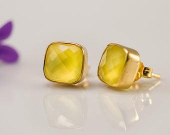 Yellow Chalcedony Stud Earrings - Gemstone Studs - Cushion Cut Studs - Gold Stud Earrings - Post Earrings