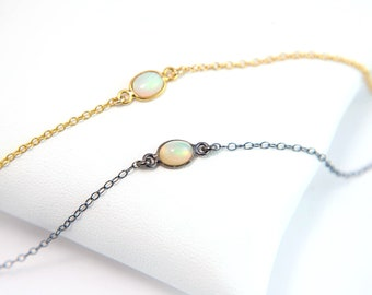 Natural Tiny Opal Necklace, October Birthstone Necklace, Gold Opal Choker, Ethiopian Opal Jewelry, Gift for Friend, Dainty Gemstone Necklace