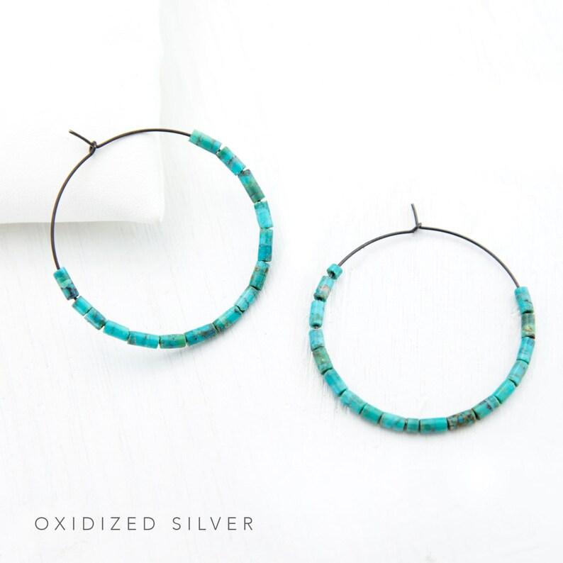 Genuine Turquoise Hoops Rose Gold Turquoise Hoop Earrings HP-DB Colorful Hoop Earrings Bridesmaid Gift Earrings Blue Statement Earrings