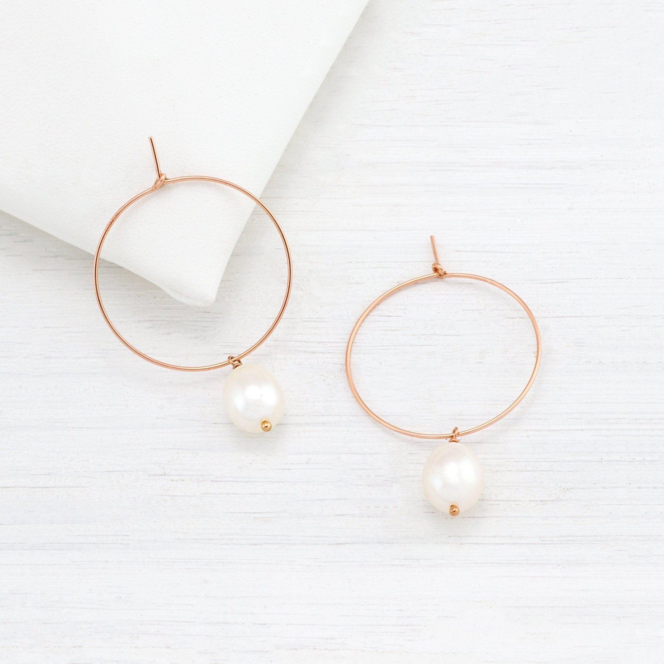 Pearl Bridal Jewelry White Pearl Earrings Bridal Earrings Gold Filled Earrings White Freshwater Pearl Earrings Gold Circle Earrings