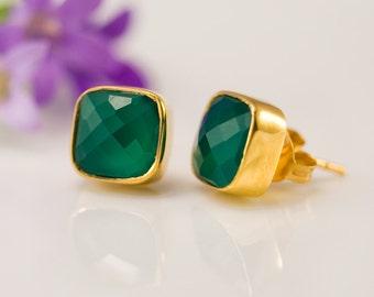 Green Onyx Stud Earrings - Gemstone Studs - Cushion Cut Studs - Gold Stud Earrings - Post Earrings
