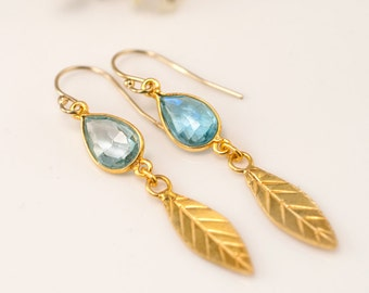 Blue Topaz earrings - Gold Leaf Earrings - Birthstone Earrings - Gemstone earrings - Gold drop earrings - Dangle Earrings