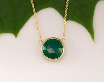 Green Onyx Necklace - Layering Necklace - bezel set necklace - gemstone necklace - Gold necklace -