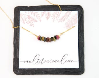 Raw Multi-Color Tourmaline Bar Necklace, October Birthstone Gift for Her, 14k Gold Filled Natural Gemstone Bar Necklace, Layering Necklace