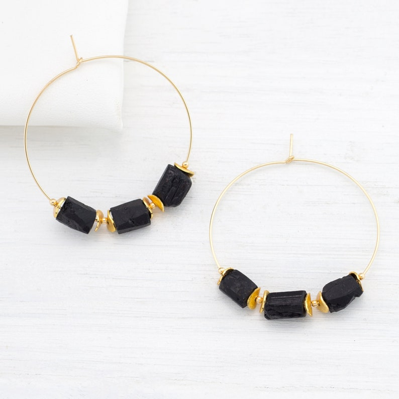 Rough Black Tourmaline Hoop Earrings Raw Boho Statement Stone image 0