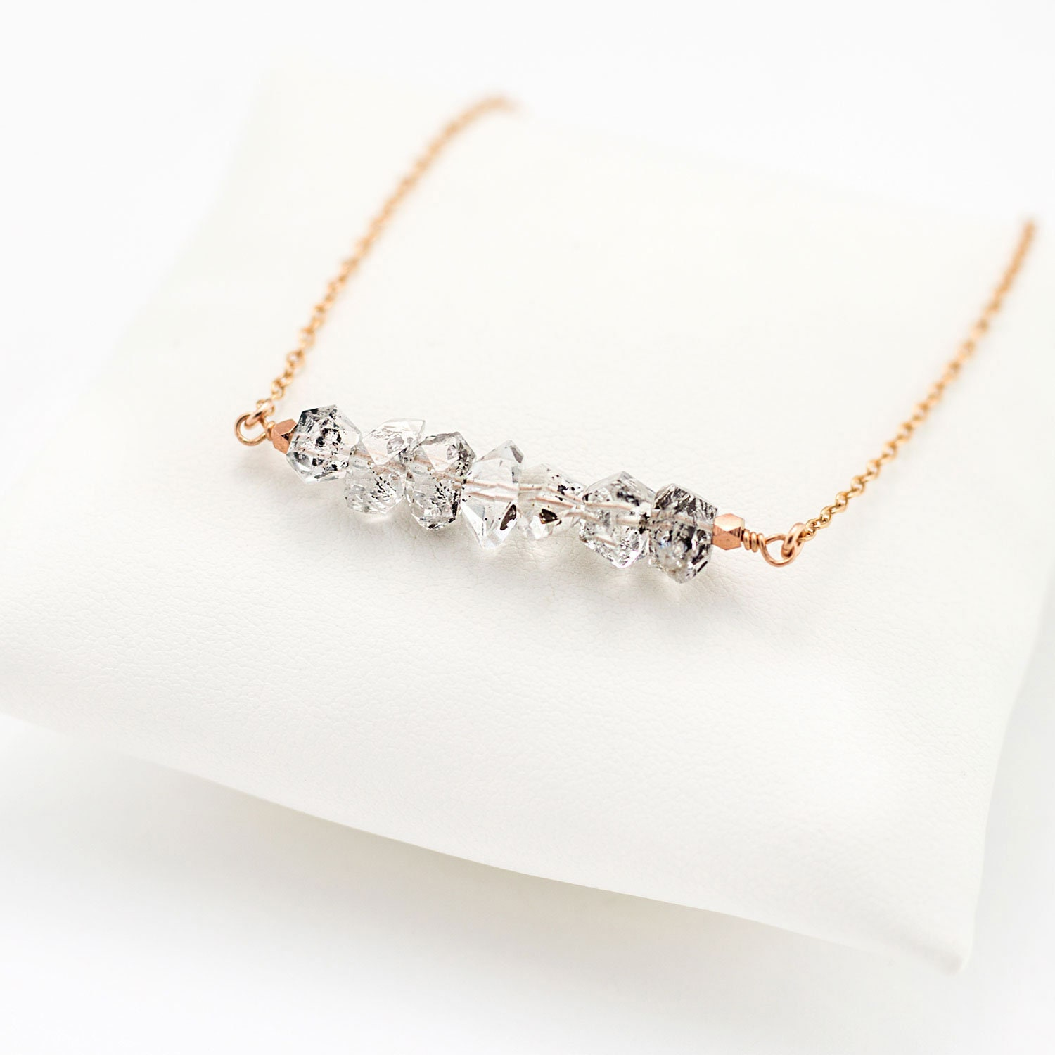 Sterling Silver /& 14ct gold filled anklet Herkimer Diamond Raw Crystals gift