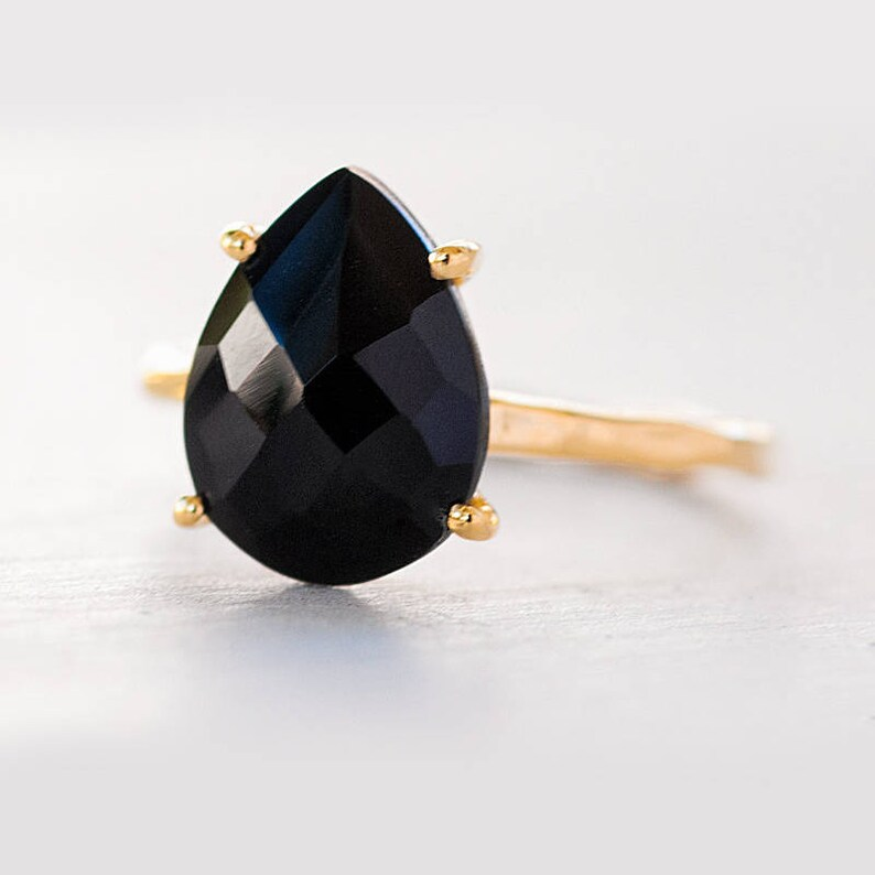 Black Onyx Ring Gold Black Stone Ring Solitaire Ring image 0