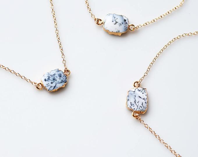Dendrite Opal Gem Slice Necklace, 14k Gold Filled Minimalist Choker, Bridal Gift, Gemstone Necklace, Marble Jewelry, Boho Necklace, NK-GS
