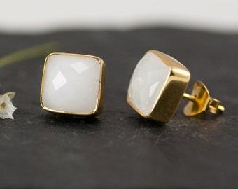 White Agate Stud Earrings - Gemstone Studs - Cushion Cut Studs - Gold Stud Earrings - Post Earrings