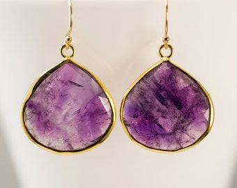 Purple Amethyst Earrings - February Birthstone Earrings - Gold Earrings - Purple Earrings - Drop Earrings