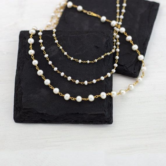 Simple Freshwater Pearl Beaded Choker Necklace