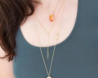 Layered Necklace Set - Set of 3 - Arrowhead Necklace - Clear Quartz - Layering Necklace - Bohemian Necklace - Boho Hippie Chic Necklace