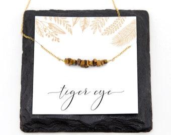 Natural Tiger Eye Bar Necklace, Chatoyant, Energy Stone, Nature Jewelry, Woodland Necklace, Beaded Bar, Rustic Wedding, Genuine Gemstones