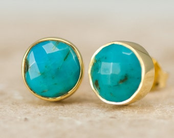 Natural Turquoise Stud Earrings, Gold Round Gemstone Studs, Boho Earrings, Gift for Friend, Trending Earrings, Gold Framed Stone Earrings
