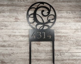 Monogram house number sign - great house warming gift! Address Sign, House Sign, Custom Metal Sign, Custom Address Sign,  Custom House Sign