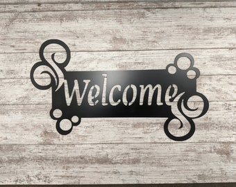 Welcome Sign - Custom Metal Sign, Housewarming Gift, Entryway Sign, Rustic Handmade Made To Order