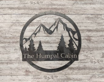 Custom Mountain Family Name Sign - Personalized Name Sign