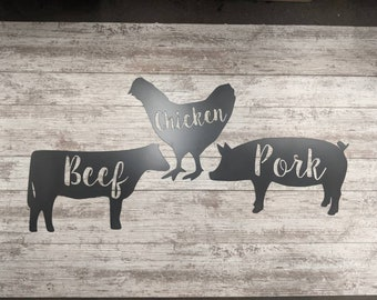 Cow Pig Chicken Sign Set, Beef Pork Chicken Sign Set, Kitchen Sign, Kitchen Decor, Farm Signs, Farm Decor, Rustic Handmade Made To Order