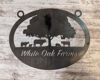 Custom Farm Sign, Ranch Sign - Personalized Sign With Your Name, Rustic Steel Personalized Gift, Custom Metal Sign, Cow, Cattle, Tree